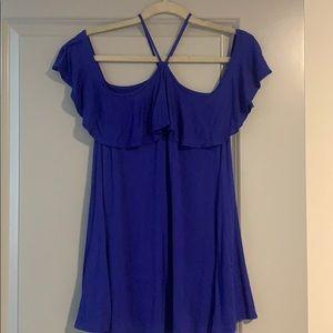 Tops - Blue boutique off the shoulder top